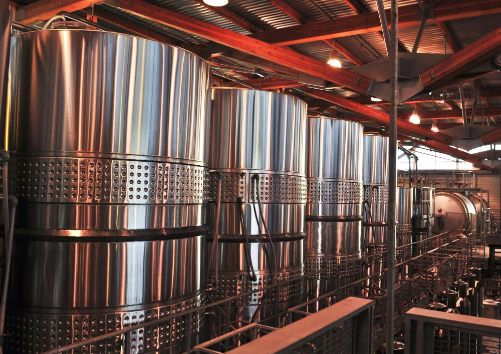 Some wines are fermented in stainless steel vats.