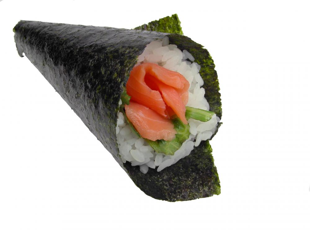A temaki cone with rice.