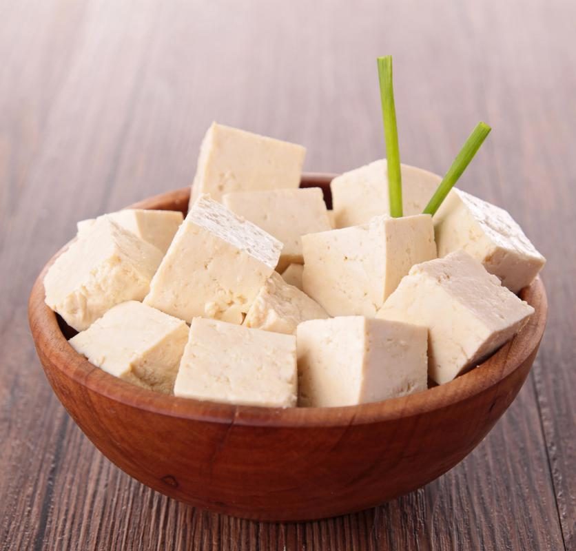 Tofu is made from soybeans and used in vegetarian and vegan cuisines.