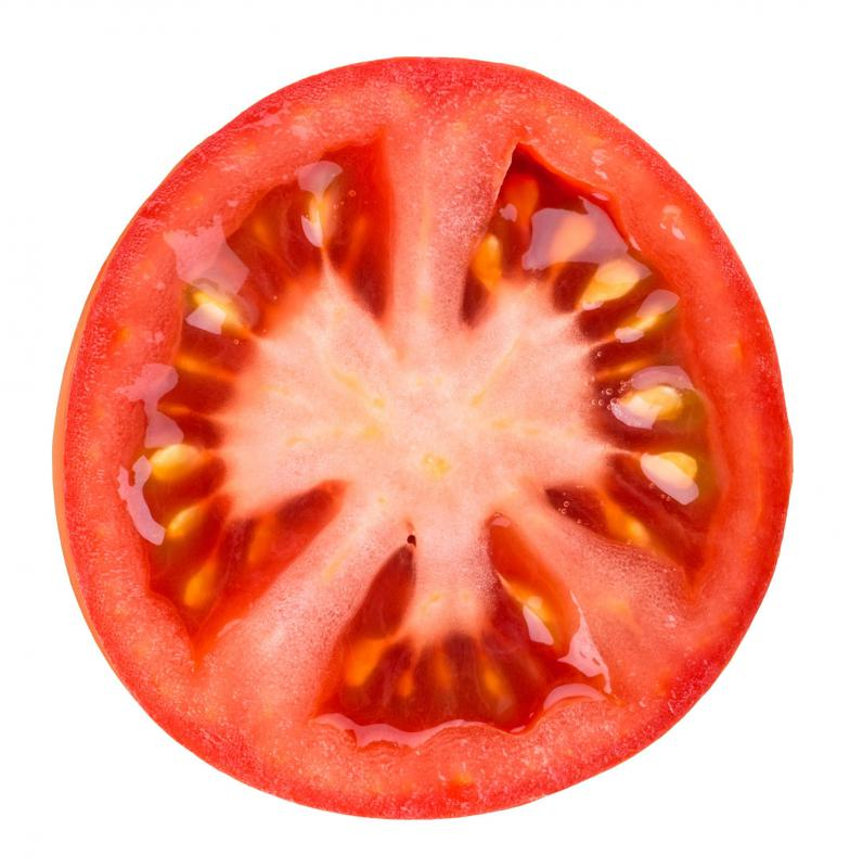 A tomato slice is commonly used as a burger condiment.