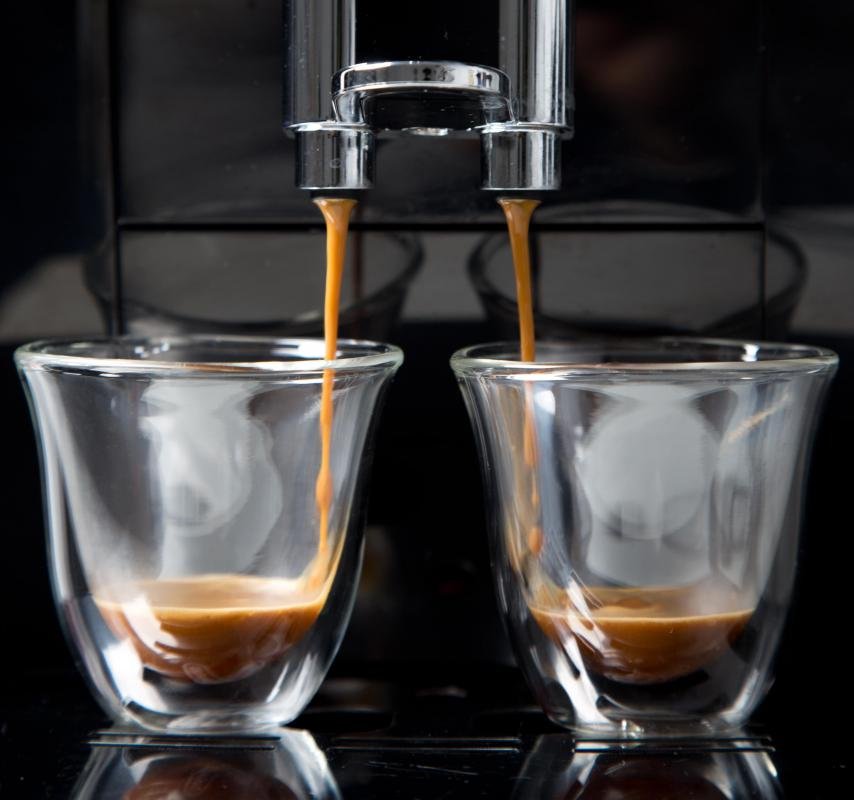 Water is forced through finely ground coffee to make espresso.