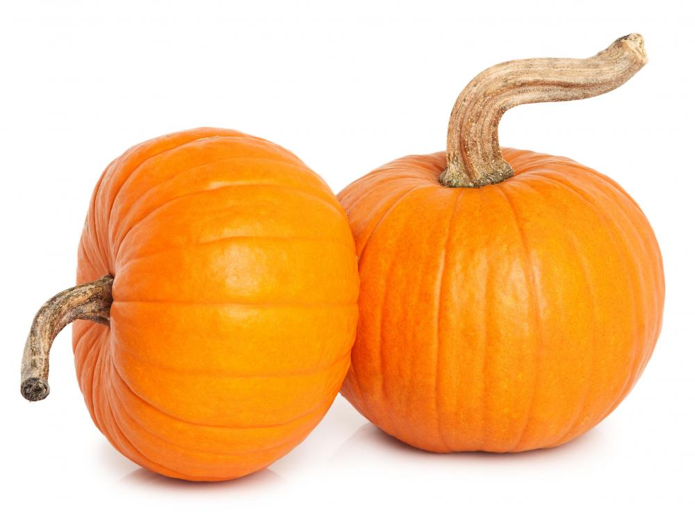 Two pie pumpkins.
