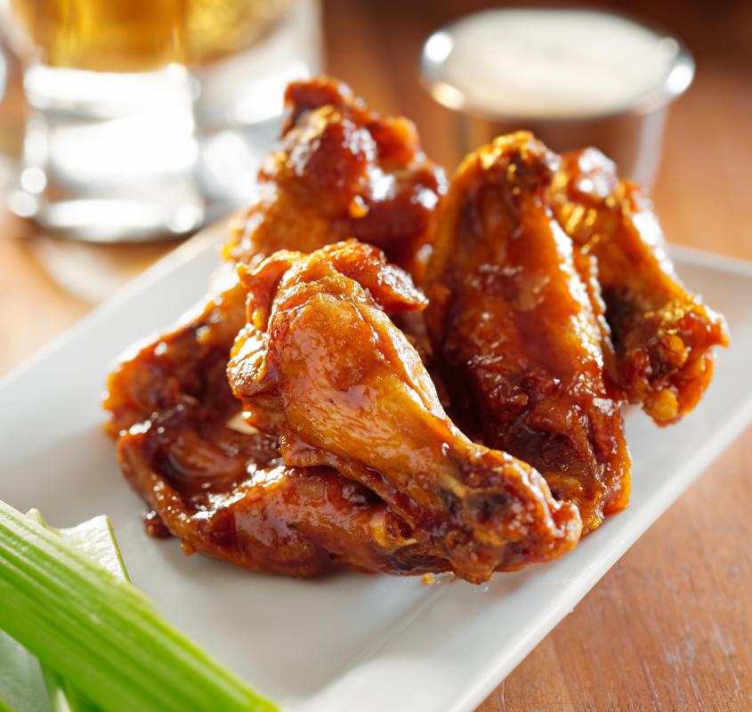 Chicken wings may serve as appetizers.