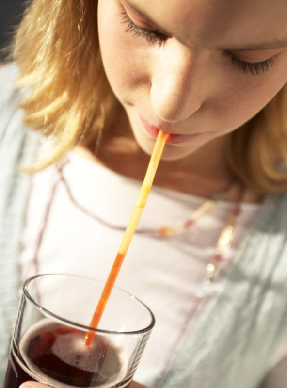 Italian soda drinks are often served with a straw.