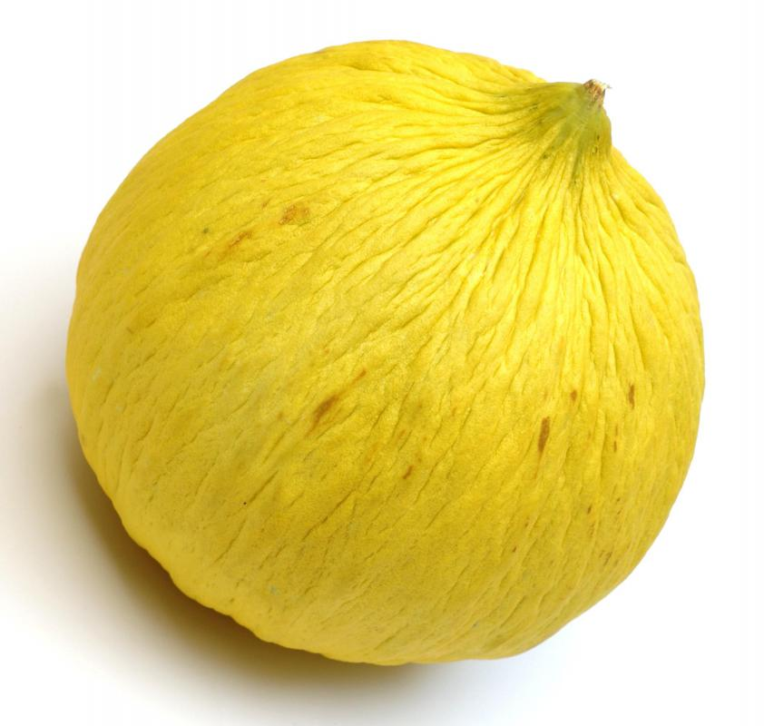 A casaba melon is ripe when the blossom end is slightly yielding.